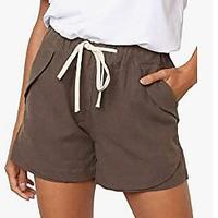 BLENCOT Women's Drawstring Elastic Waist Beach Shorts