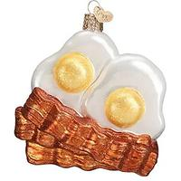 Bacon and Eggs Glass Ornament