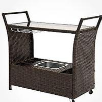 Best Choice Outdoor Patio Wicker Serving Bar Cart With Ice Bucket and Wine Rack