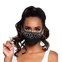 Black Rhinestone Face Mask