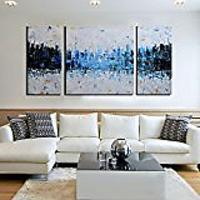 """Blue City"" 3-Piece Abstract Unframed Wall Art"