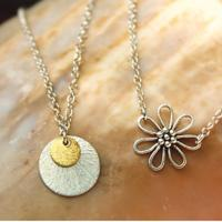 Brushed Silver & Gold Disc Charm/Chain Necklace | Bali Silver Flower Charm/Chain Necklace
