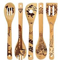 Burned Wooden Bamboo Utensil Set