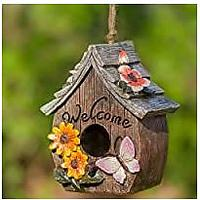 Butterfly and Flowers Welcome Decorative Hand-Painted Bird House (Bestseller)