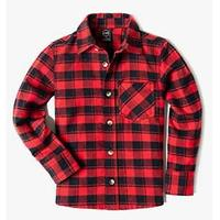 CQR Kid's Plaid Flannel Shirt Long Sleeve, All-Cotton Soft Brushed Casual Button Down Shirts