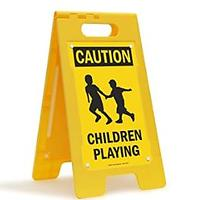 """Caution - Children Playing"" Folding Floor Sign"