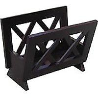 Contemporary Solid Wood Magazine Rack, Mahogany Finished