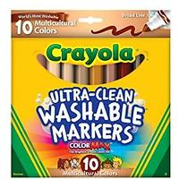 Crayola Ultra Clean Washable Multicultural Markers, 10 Count
