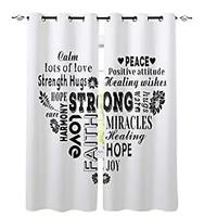 Decorative Curtains With Inspiration Sayings (2 Panels)
