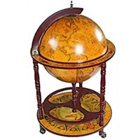 Design Toscano 16th Century Italian Replica Globe Bar Cart Cabinet on Wheels