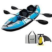 Driftsun Voyager 2-Person Tandem Inflatable Kayak, Includes 2 Aluminum Paddles, 2 Padded Seats, Double Action Pump and More