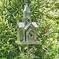 Galvanized Multi-Birdhouse Stakes, Room for 4 Bird Families in Each (Bestseller)