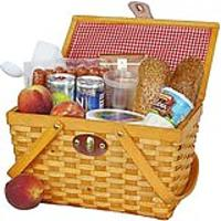 Gingham Lined Picnic Basket