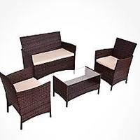 Goplus 4-Piece Rattan Patio Furniture Set Garden