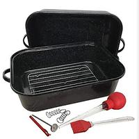 Granite Ware Rectangular Covered Roaster and 6-Piece Tool Set