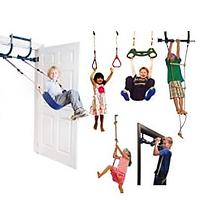 Gym1 Deluxe Indoor Playground with Indoor Swing, Plastic Rings, Trapeze Bar, Climbing Ladder and Swinging Rope