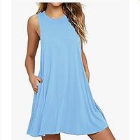 HAOMEILI Women's Summer Casual Swing T-Shirt Dress