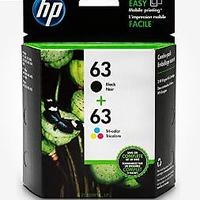 HP 63 Black & Tri-color Ink Cartridges (2 Cartridges)