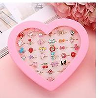 Little Girl Adjustable Rings in Box (36 Pieces)