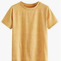 MAKEMECHIC Women's Casual Loose Striped Short Sleeve T-Shirt