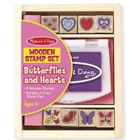 Melissa & Doug Butterfly and Heart Wooden Stamp Set