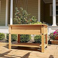 Mission Cedar Elevated Garden Bed with Shelf
