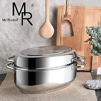 Mr. Rudolf Stainless Steel Roasting Pan With Wire Rack and Lid