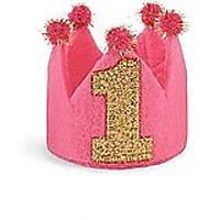Mud Pie Baby Girls' 1st Birthday Crown Headband