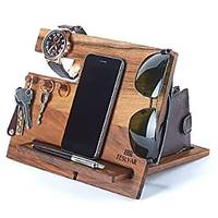 Natural Walnut Wood Phone Docking Station