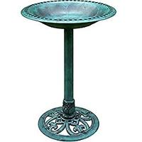 Polyresin Lightweight Antique Outdoor Garden Bird Bath Green (Bestseller)