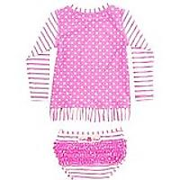 RuffleButts Hot Pink Striped Polka Rash Guard Bikini