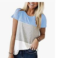 SMALOVY Women's Triple Color Block Stripe T-shirt
