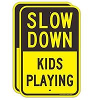 Slow Down Kids Playing Sign (2 Pack)
