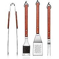 Stainless Steel Barbecue Tool Set With Solid Hard Wood Handles