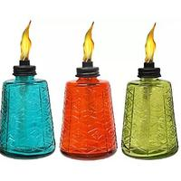 TIKI 6-Inch Molded Glass Table Torch, Red, Green & Blue