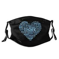 Teacher Heart Word Cloud Face Mask
