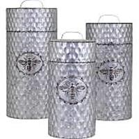 Honey Bee Galvanized Canisters (Set of 3)