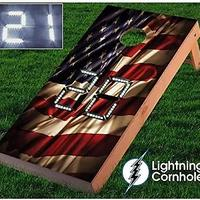USA Flag Electronic Scoring Cornhole Board Sets