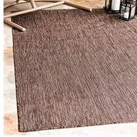 Unique Loom Outdoor Solid Collection Casual Transitional Indoor and Outdoor Flatweave Light Brown Area Rug (8' 0 x 11' 4)