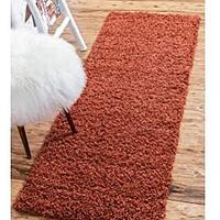 Unique Loom Solo Solid Shag Collection Modern Plush Runner Rug (2' 2 x 6' 5)