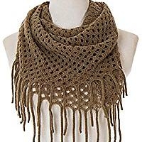 Winter Crochet Knit Fringe Infinity Loop Scarf
